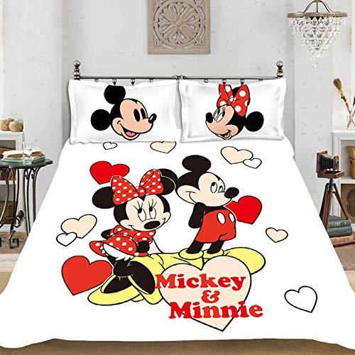 Disney Mickey Minnie Mouse Paar-Bettbezug-Set mit Reißverschluss, farbechte Mikrofaser, für Mädchen und Jungen, Cartoon-Bettbezug (B,135 x 200 cm)