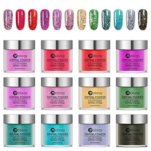 Huanchenda Polvo Acrílico, Polvo de Inmersión para Uñas 12 Colores 10g/frasco Juego de Decoración de Uñas para Principiantes(no incluidos líquidos en polvo de inmersión)