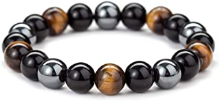 10MM Ojo de tigre de obsidiana y perlas magnéticas Mala pulsera Tibetano budista Buda Meditación Collar/pulsera