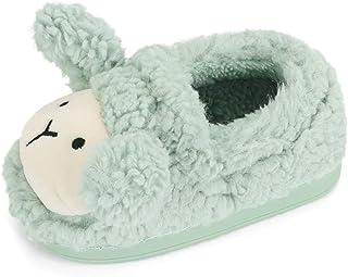 LACOFIA Pantofole Antiscivolo di Pecora per Bambini Ciabatte in Peluche Invernali per Bimbo