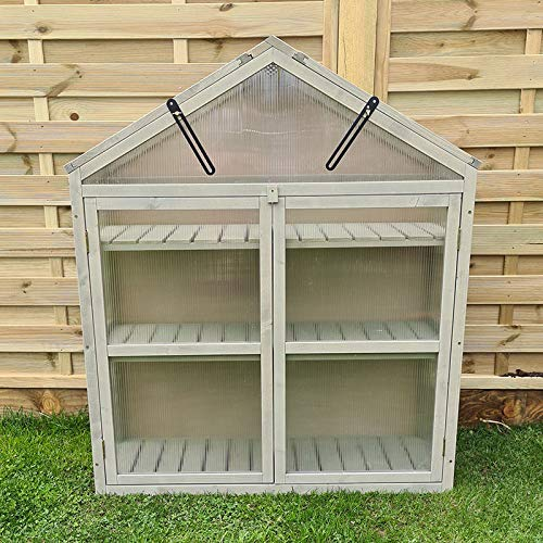 FeelGoodUK Large Cold Frame Greenhouse Flower Planter Green House Wooden Frame 120 (h) x 30 (d) x 100 (w)…