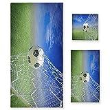 ZORMIEY Juego de 3 Toallas Decorativas Suaves y Altamente absorbentes con balón de fútbol en portería, 1 Toalla de baño + 1 Toalla de Mano + 1 paño, para baño, Hotel, Gimnasio y Cocina