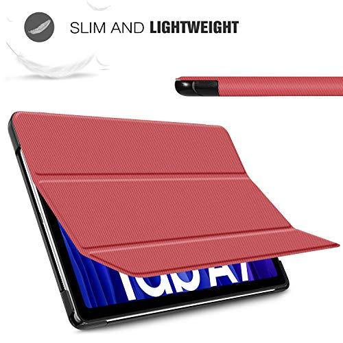 IVSO Hülle Kompatibel mit Samsung Galaxy Tab A7 10.4 2020, Schlank Slim Hülle Schutzhülle Hochwertiges PU mit Standfunktion, Samsung Galaxy Tab A7 T505/T500/T507 10.4 Zoll 2020, Rot