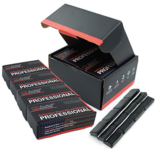 CKAuto 4 Boxes, 288Pcs, 1oz, Black, Adhesive Stick on Wheel Weights, EasyPeel Tape.Low Profile, 72 oz/Box, US Quality