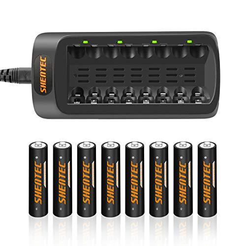 Shentec Akku ladegerät inkl. 8X AAA 1000mAh für Ni-MH AA AAA Akkus Gerät 8 Fach Multi Batterie ladegerät zum Laden & Entladen für AA & AAA Akkus Universal batterien Ladegerät