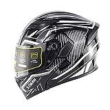 [SSPEC] 艶あり黒-白 SM955 システムヘルメット バイクヘルメット フルフェイスヘルメット 男女兼用(M)