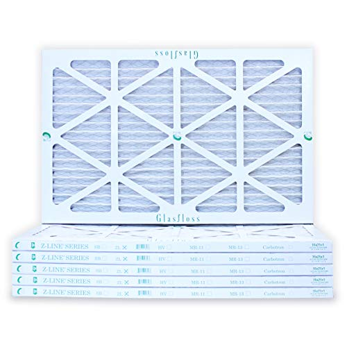 16x25x1 Air Filter 6-Pack, Pleated MERV 10 By Glasfloss - Made in USA