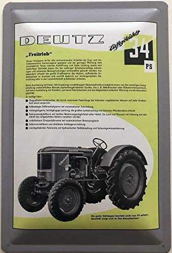 Deko7 Blechschild 30 x 20 cm Deutz Freitrieb luftgekühlt 34 PS