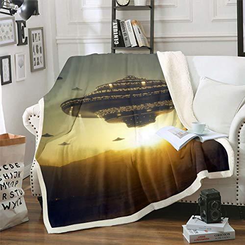 Loussiesd Utomjordingstryckt fleece filt yttre rymden tema sherpa filt för soffa säng soffa vuxen planeter övernaturliga kampanj varelser plysch filt cool luddig filt rum dekor baby 76 cm x 102 cm