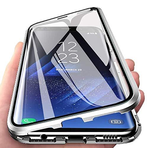 Hülle für Samsung Galaxy A52/A52S 5G Magnetische Handyhülle,360 Grad Komplettschutz Stoßfest Hülle Vorne hinten Gehärtetes Glas Metallrahmen Schutzhülle,Silber