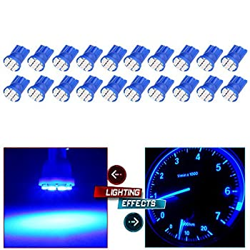 cciyu 194 Extremely Bright LED Bulbs T10-8-3020-SMD Interior Lights Dashboard Gauge Light Speedometer Odometer Tachometer LED light Instrument Panel Light Wedge T10 168 2825 W5W Blue Pack of 20