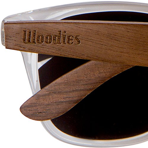 Woodies Walnut Wood Polarized Sunglasses with Clear Frame