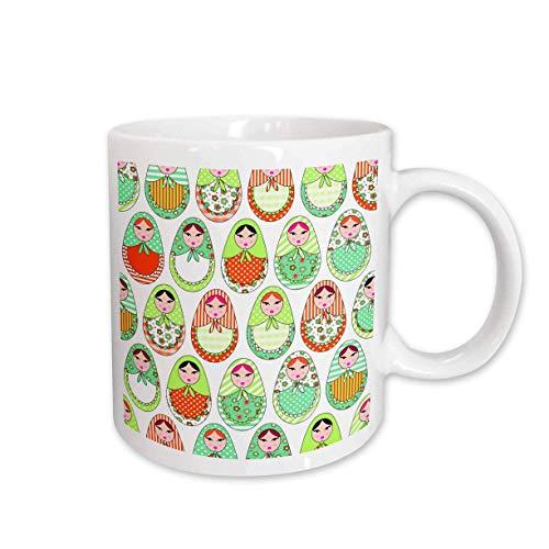 N\A Lustige Kaffeetasse Niedliche russische Matroschka-Nistpuppen drucken warme Farben, weiße Tasse, 11-Unze