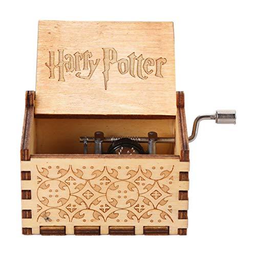 Caja de música de madera tallada con manivela de mano, con melodía, caja de música clásica hecha a mano, regalo de cumpleaños, Navidad, Año Nuevo para niños (tema Harry Potter, marrón A04)