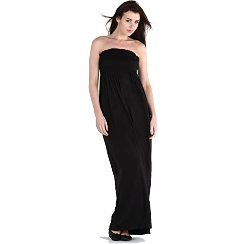 084a6a6055 Crazy Girls Red Olives Womens Bandeau Boobtude Gathered Sheering Strapless  Long Maxi Dress