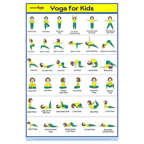 """SPORTAXIS- Kids Yoga Poster with Large and Cute Illustrations- Kids Yoga Exercises- Fitness Training for Young Active Kids- Sturdy and Laminated Kids Yoga Poster- 18""""x27"""""""