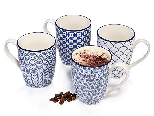 Sänger Kaffeebecher\'Ozaki\' aus Porzellan4teilig-Füllmenge Tassen 300 ml-Geschirrset in Vintage-Asia-Optik für 4 Personen- unterschiedliche Muster in Blau