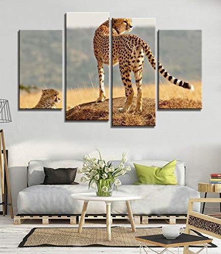 ANTAIBM® 4 Dekorative Malerei Wohnzimmer Fresko Holzrahmen - verschiedene Größen - verschiedene Stile4 Stück Stück große moderne gedruckte Geparden afrikanische Ölgemälde Bild dekorative Gemälde Leinw