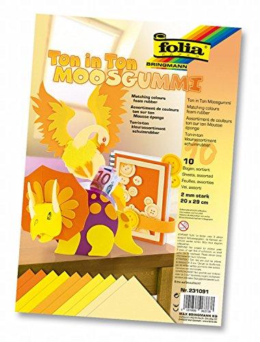 folia 231091 - Moosgummi Ton-In-Ton Gelb Sortierung, 2 mm, ca. 20 x 29 cm, 10 Bögen - ideal für vielseitige Bastelarbeiten
