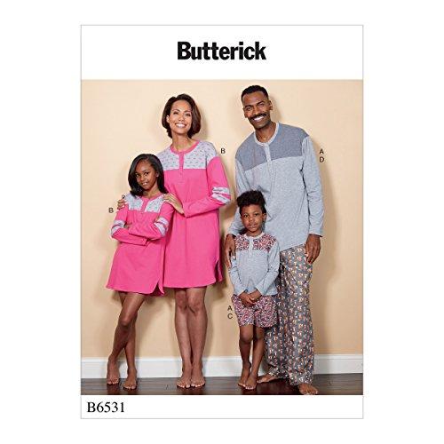 Vlinderpatronen 6531 OS Misses/Heren/Kinderjongens/Meisjes Top/Tuniek/Shorts en Broeken Naaien, Tissue, Multi-Colour, 17 x 0.5 x 22 cm
