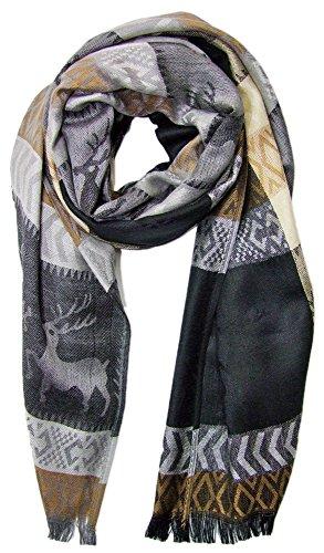 Trachtenland Trachtenland Halstuch Schal mit Hirsch Stickereien - Schwarz
