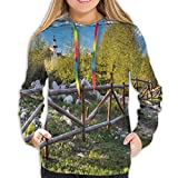 Women's Hoodies Tops,Artsy Idyllic Scene with Tree Trunk Plank and Snow Mountain Range The Alps Photo,Hoodie Sweatshirt Apparel for Women,Lady, Teens and Girls,Size:XL