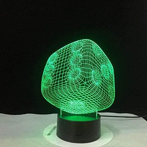 Kleines Nachtlicht 3D Stereo Vision Würfel kreative Tischlampe 7 Farbschalter USB Tischlampe Stimmungslicht als kreatives kleines Nachtlicht