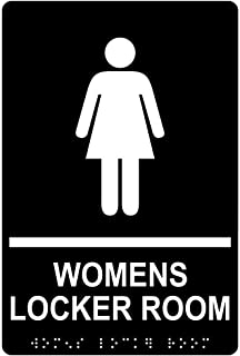Womens Locker Room Sign, ADA-Compliant Braille and Raised Letters, 9x6 inch White on Black Acrylic with Adhesive Mounting Strips by ComplianceSigns