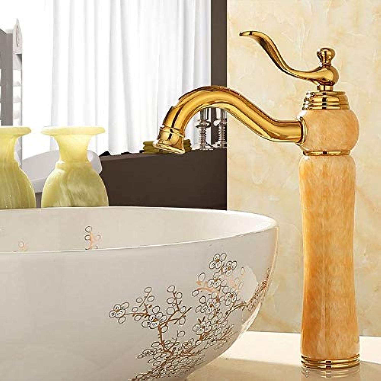 Rmckuva Waschtischarmaturen Becken Wasserhahn Moderne Einhebel Wasserhahn Heier Und Kalter Wasser Messing Mischer Gebogen Mund Jade Wasserhahn Gelb-09