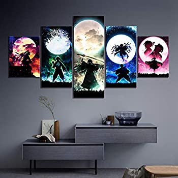 Chrisdeer Canvas Paintings Wall Art 5 Framed Anime Canvas Hd Prints Demon Slayer Kimetsu No Yaiba Pictures Wall Artwork Painting Anime Role Home Decor Modular Poster Living Room Large Artworks