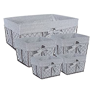 DII Home Traditions Vintage Metal Chicken Wire Storage Basket with Removable Fabric Liner, Set of 5 Mixed Nesting Sizes, Ticking White and Black Denim Striped
