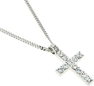 Gahrchian Diamond Necklace Pendant Sterling Silver Gold Plated Cross Pendant NecklaceJewelry for Women Men Jewelry