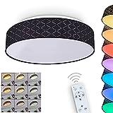 Lámpara LED de techo Meldal, regulable, de metal y tela, en blanco y negro, moderna lámpara de techo con cambio de color RGB y controlable mediante mando a distancia, 23 W, 3000-6000 K