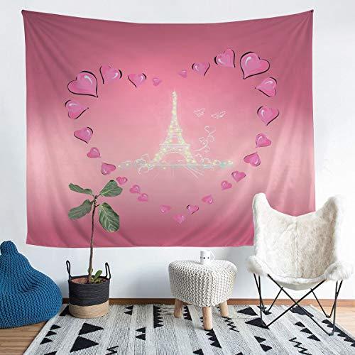 Manta de pared de la torre Eiffel con diseño de París, ideal para colgar en la pared para niños y niñas, manta de microfibra para ropa de cama de color rosa, tamaño grande, 122 x 79 cm
