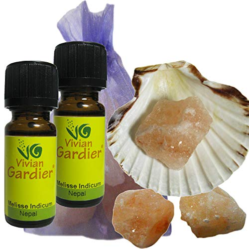 Melisse Zitronenmelisse ätherisches Öl naturrein 2 x 10ml aus kontrolliertem Anbau. 7 teiliges Aromatherapie Duft Set mit Muschel + 3 Salz Kristalle zum Beduften + Säckchen. 50003