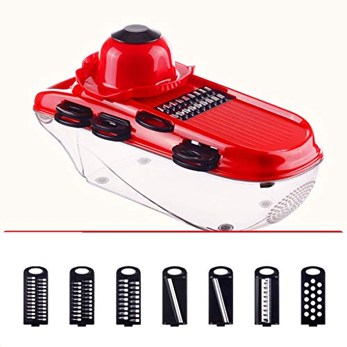 Xiaokeai Slicer Professional Box Grater - Onion Chopper with Container, Food Chopper Dicer with 7 Blades, Best for Fruits and Vegetables Mandoline (Color : Red)