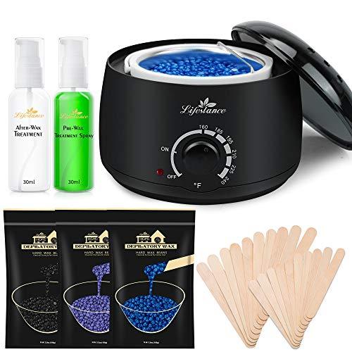 Lifestance Waxing Kit, Design for Sensitive Skin, Wax Warmer Hair Removal for Bikini, Brazilian, Face, Legs, At Home Waxing Kit for Women