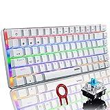 Mechanische Tastatur, kabellose Bluetooth-Gaming-Tastatur, Regenbogen-LED-Hintergrundbeleuchtung, USB-Kabel, 82 Tasten, für Spiel und Büro, PC, Mac, Telefon (blauer Schalter, weiß)