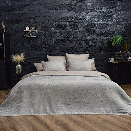 Bettüberwurf Monte-Carlo Stone | Tagesdecke 240x260 inkl. 2 Kissenbezüge