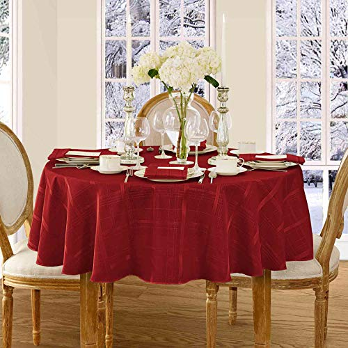 Newbridge Elegance Plaid Christmas Fabric Tablecloth, 100% Polyester, No Iron, Soil Resistant Holiday Tablecloth, 90 Inch Round, Poinsettia Red