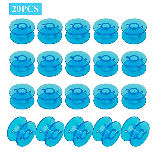 MiDube 20PCS Plastic Sewing Machine Bobbins for Brother Janome Singer Kenmore Front Loading Class 15 Machines Home Embroidery (Blue)