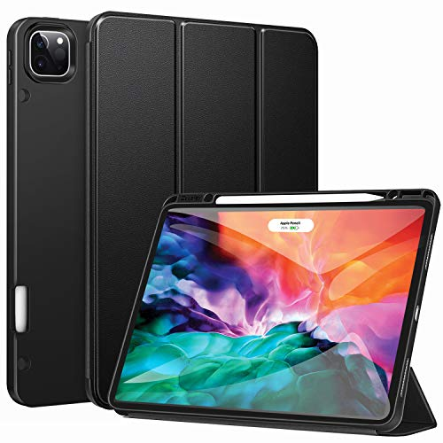 ZtotopCase for New iPad Pro 12.9 Inch 4th & 3rd Generation 2020/2018 with Pencil Holder, Full Body Protective Rugged Shockproof Cover with Auto Sleep/Wake, Support 2nd Gen Pencil Charging,Black