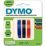 DYMO auténtica etiquetas de estampación 3D, 9 mm x 3 m, Azul, Negro y Rojo, Autoadhesivas, para las etiquetadoras de estampado, 3 rollos, Fabricado en Europa