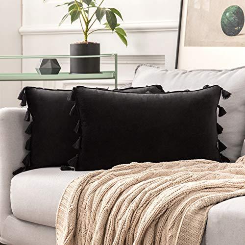 MIULEE 2er Set Samt Kissenbezug Quaste Kissenhülle Dekorative Tassel Dekokissen mit Verstecktem Reißverschluss Sofa Schlafzimmer 12 x 20 Inch 30 x 50 cm Schwarz