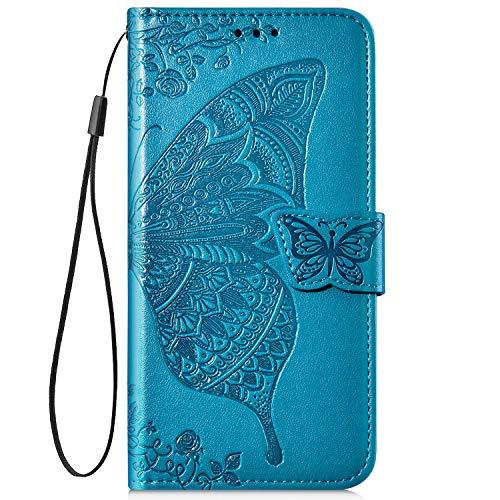 Hpory Kompatibel mit Huawei P20 Lite Hülle, Huawei P20 Lite Handyhülle Retro Muster PU Leder mit Handschlaufe Kartenfächer Geldbörse Wallet Case Flip Cover Schutzhülle Tasche - Schmetterling Blau