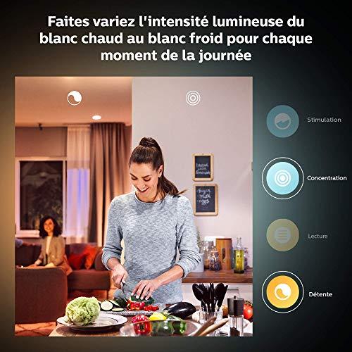 Philips Hue Kit de démarrage Ampoules LED connectées White & Color Ambiance E27, Pack de 2 + pont de connexion, Fonctionne avec Alexa