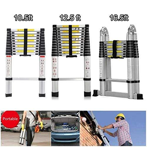 3.2M Uitschuifbare Ladder Aluminium Telescopische klemmen Ladders 10.5 Ft 11 Stappen EN131 Gecertificeerde Anti-Slip Ladder Max belasting 330lb 5M A-Frame Ladder