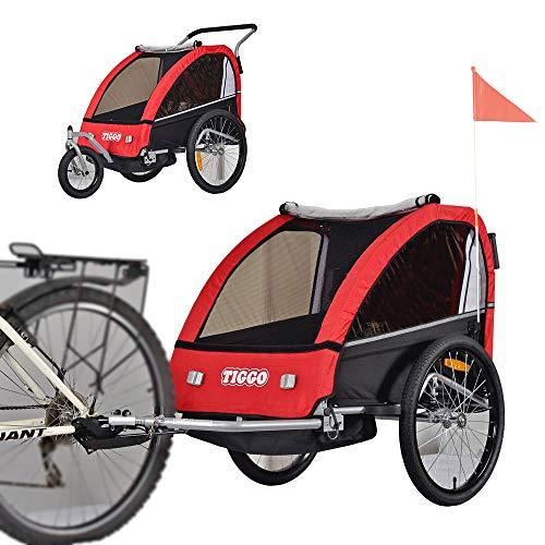 Tiggo Kinderfahrradanhänger Fahrradanhänger Jogger 2in1 Anhänger Kinderanhänger BT605-D01 ROT