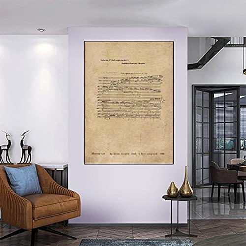 Spartiti per pianoforte Tela Pittura Poster in stile retrò Stampa Immagini di arte della parete Camera da letto moderna Soggiorno Decorazione della casa-70x100 cm senza cornice