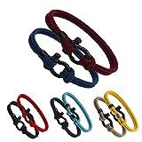 HKKY Unisex Woven Bracelet, Classic Stainless Steel U-Shaped Horseshoe Buckle Bracelet, Solid Color Bracelet, Couples Style, Milan Yarn (Blue-Green+Wine Red)